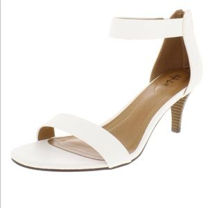 Style & Co White Snake Faux Leather Sandal Heels